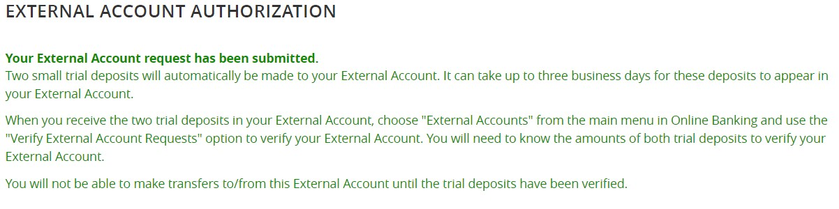 How-To Services - Transfers External Account Submitted