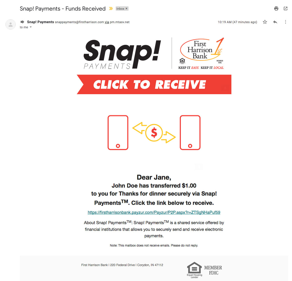 How-To Services - Snap Payments Funds Received Email