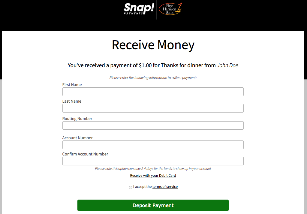 How-To Services - Snap Payments Collect Funds Account Number