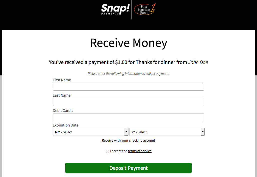 How-To Services - Snap Payments Collect Funds Debit Card