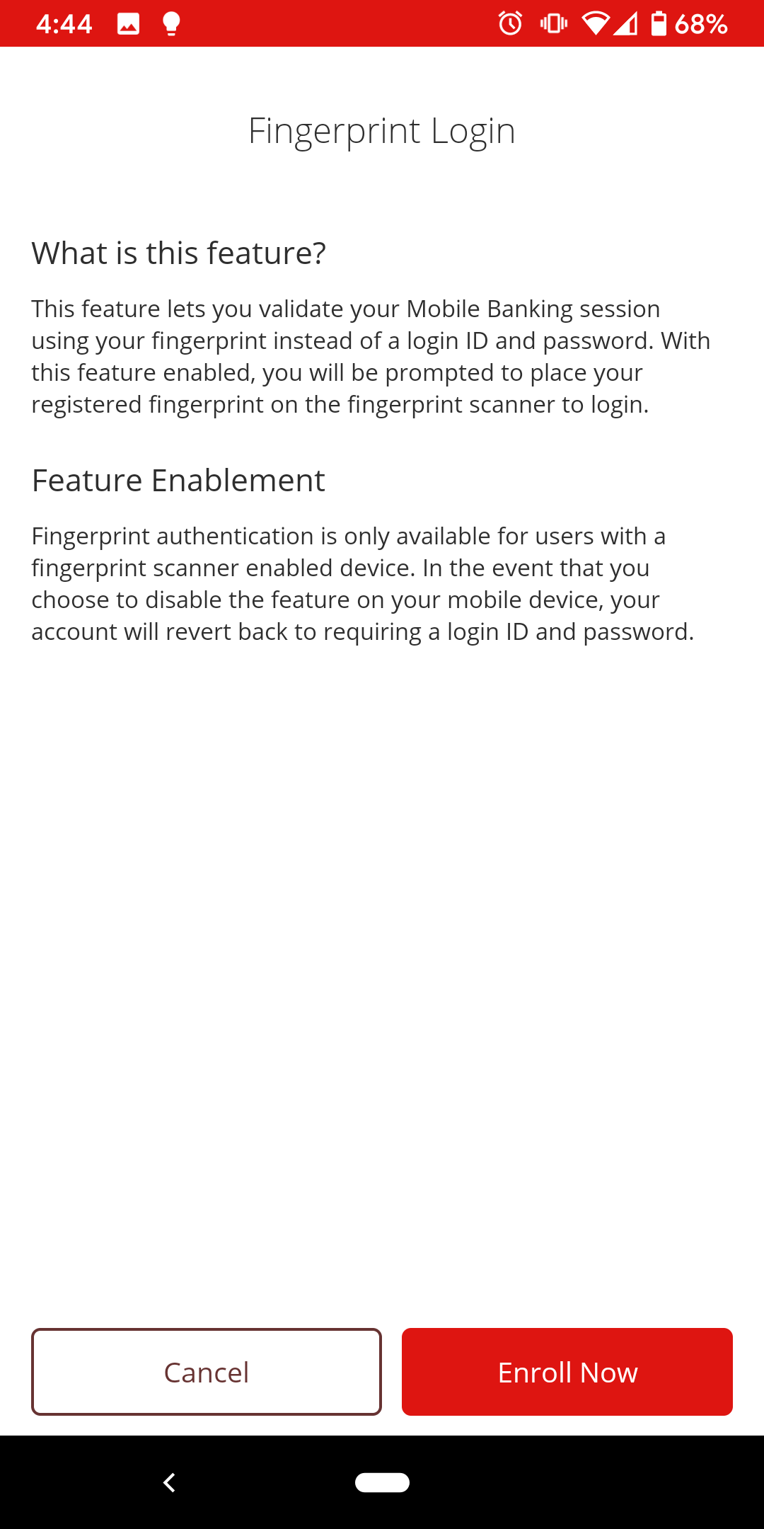 Login - Mobile Login Options Fingerprint Enroll