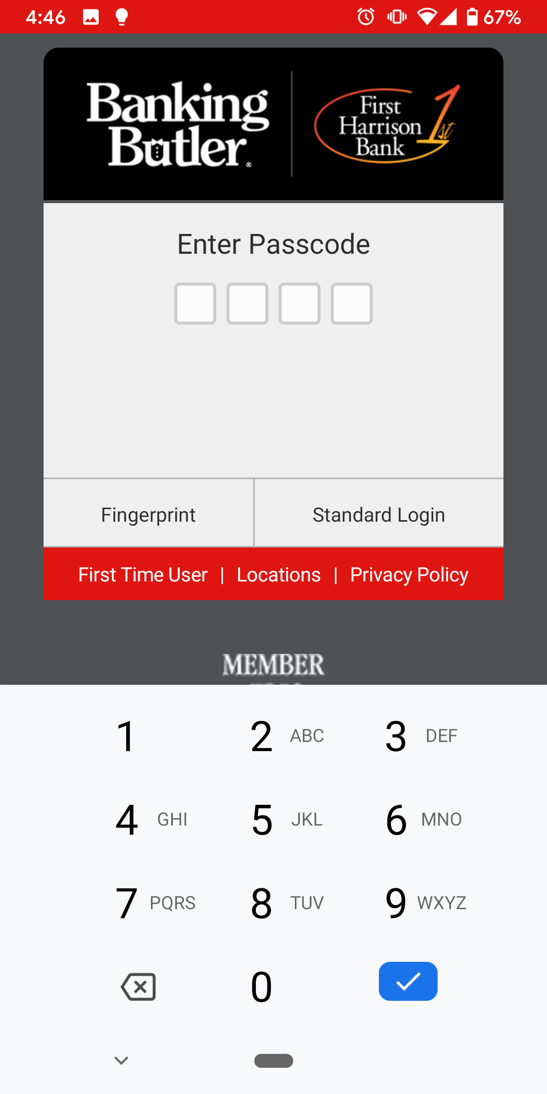Login - Mobile Login Options Passcode Login